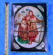 1998 Russian Russia Fedoskino Handpainted Signed Pearl Large Laquer Trinket Box