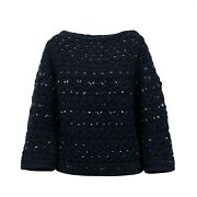 Nwt Valentino Navy Embellished Beaded Chunky Knit Sweater Top Size M 5227