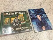 Robbie Williams Signed 'the Christmas Present' Cd And Signed Xmas Card Mint Auto
