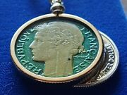 1933 French Colorized 2 Franc Coin Pendant On An 28 Gold Filled Foxtail Chain
