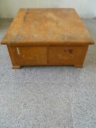 Antique Library File Box Wood Card Catalog Library File Box-2 Drawer