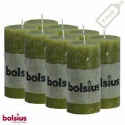 Rustic Olive Green Pillar Candles 2x4 Unscented 8 Pack Dinner Wedding Decor Spa
