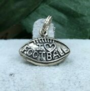 Silver I Love Football Charm Estate Jewelryfootball Charmsterling Silver Ss