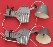 2 Vintage Soviet Russian Industrial Machine Age Scissor Wall Lamp 12v - 1960and039s