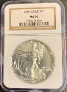 1989 1 Silver American Eagle Ngc Ms69 Brown Label