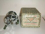 Vintage Pflueger Akron 1893 Reel W/ Jeweled Ends And Patent Numbers W/ Box