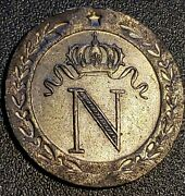 1808 Napoleon 10 Centimes - Billon Ag/au - Extremely Fine - Rare In This Cond.