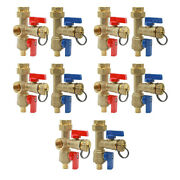 Midline Valve Hot And Cold Isolation Valves, Brass, Fip 5 Red+ 5 Blue