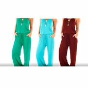 Sullcom Women Solid Sleeveless Jumpsuit Casual Spaghetti Strap Long Pant Rompers