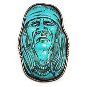 Carved Turquoise Native Indian American Brooch Pin