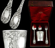 French Sterling Silver 4pc Flatware Set With Tumbler - Fork, Spoons And Wine Cup