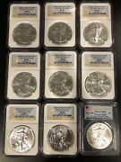Ngc Pcgs Ms69 U.s. Silver Eagle Investment Lot Of 9 Coins - W West Point 2011-12