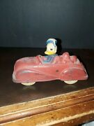 Vintage 1930's Disney Donald Duck Pluto Toy Car Mfg By Sun Rubber Barberton Oh