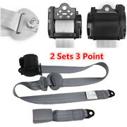 2 Sets Gray Car Vehicle Adjustable Retractable 3 Point Safety Seat Belt Straps