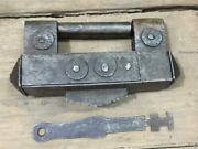 Vintage Old Unique Trick Or Puzzle Barbed Spring Rare Iron Padlock With Key