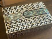 Egyptian Handmade Wood Jewelry Box Inlaid Mother Of Pearl 11.4x7.4