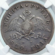 1829 Cnb Russia Emperor Nicholas I Antique Eagle Silver Rouble Ngc Coin I85320