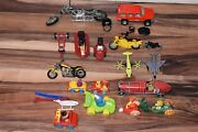 Mixed Lot O 18 Vehicles - Tootsie Toy, Tin Toy, Motorcycles, Snowmobile + More