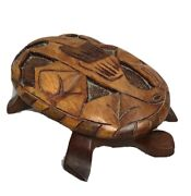 Vintage Solid Wood Art Hand Carved Jewelry Turtle Box Made In Dominican Republic