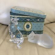 Lenox Classics Fine Crystal Cats Made In Germany With Vintage Tin Box