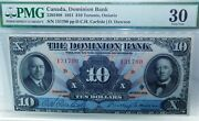 Canada1931 Dominion Bank 10 Pmg 30 Only 13 Graded By Pmg