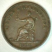 1838 Guyana Stiver British Copper Circulated South American Coin
