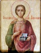 Antique 19c Russian Hand Painted Icon Of Pantaleon