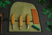 Set Of Woodcarving Knives In A Tool Roll Beavercraft