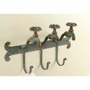 Water Faucet Wall Hook - 3 Hooks Rusted Distressed Gray Metal - Farmhouse Garden