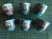 Polia Pillin Pottery Mid-century Sake Cup Set Of 6 Blue With Woman's Face Rare