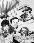 Crp-50093 Caricature Bess Myerson, Mike Douglas Tv Tournament Of Roses Parade Cr