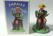 Tin Toy Farmer Alps Trading Antique Collection Made In Japan Old Vintage Rare