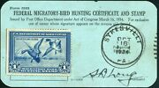 Rw1 1934 Federal Duck Form 3333 Sykesville Pa Oct 16, 1934 Pristine Condition