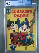 Four Color 735 Cgc 9.0 Wp Dell Publishing 1956 1st App Crusader Rabbit - Rare