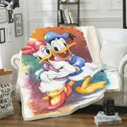 Watercolor Picture Of Donald Duck 3d Warm Plush Fleece Blanket Picnic Sofa Couch