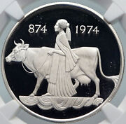 1974 Iceland Four Spirits And Cow Woman Vintage Silver 500 Kronor Coin Ngc I85390