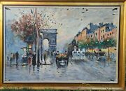 Antique French School City Seen Oil Painting On Canvas Signed