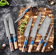 Damascus Steel Utility Chef Bread Santoku Kitchen Home Cooking Knife Tools Sets
