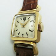 Omega Square Type Ladies Color Gold Hand-wound Vintage 1950s 24mm Size Rare