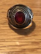 Vintage 1958 Kentucky Military Academy 10k Yellow Gold Red Stone Class Ring