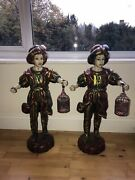 Pair Of Stunning Early Venetian Solid Wood Large Figurine Mascots