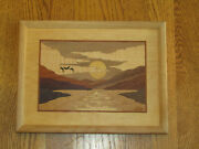 Hudson River Inlay Wood Picture Marquetry - Sunset By Nelson 13x10
