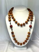 Antique Chinese Necklace 44 Carved Wood Hediao Nut Seed Pit Beads