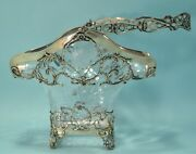 Victorian English Sterling Silver And Etched Glass Basket By William Comyns