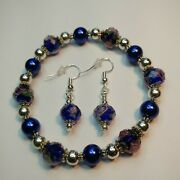 Handmade Blue And Pink Flower Crystal Stretch Bracelet 8and039and039 With Matching Earrings