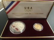 1988 Us Olympic Silver Dollar And Gold Five Dollar Coins