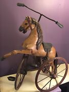 Antique 1800's Wooden Horse Iron Tricycle Missing Front Leg