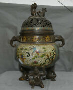 21 Old Marked Chinese Bronze Cloisonne Elephant Lion Fish 3 Arhat Buddha Censer
