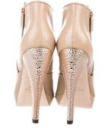 Herve Leger 8.5 Sexy Beige Rose Gold Leather Womens Designer Booties Boots Shoes