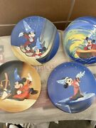 Knowles 50th Anniversary Disney Fantasia Set Of 4 Collector Plates Mickey Mouse